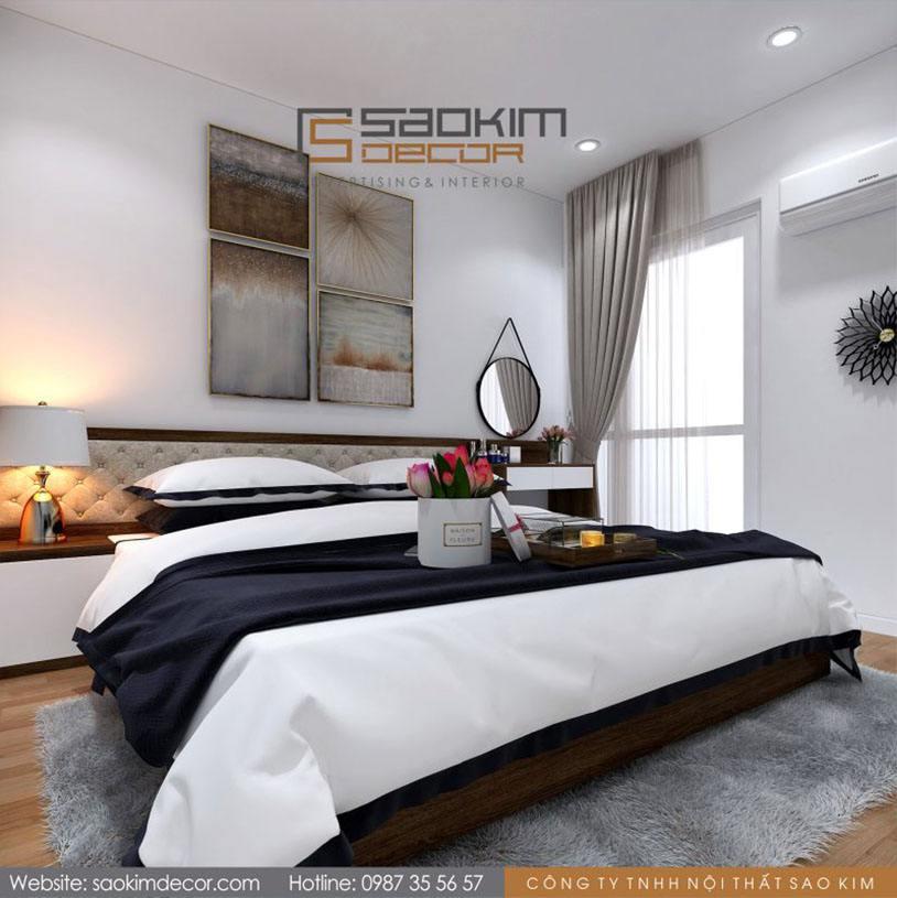 Thiết kế phòng ngủ master chung cư 70m2 Athena Complex Xuân Phương