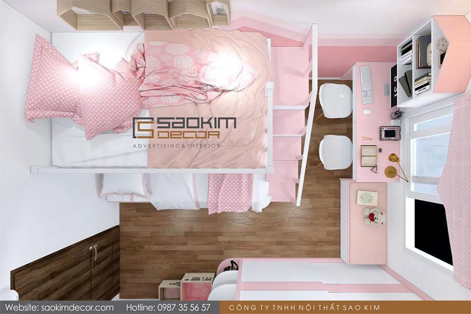Thiết kế phòng ngủ cho bé gái chung cư Athena Complex Xuân Phương