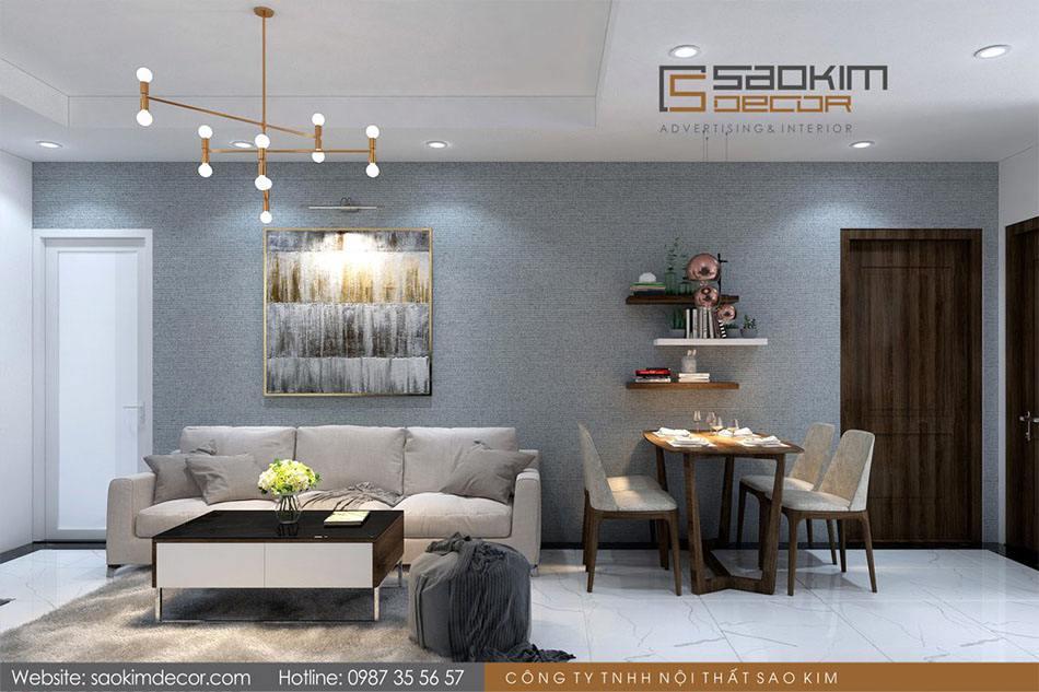 Thiết kế phòng khách chung cư 70m2 Athena Complex Xuân Phương