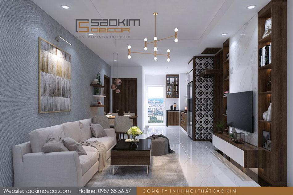 Thiết kế nội thất phòng khách chung cư Athena Complex Xuân Phương