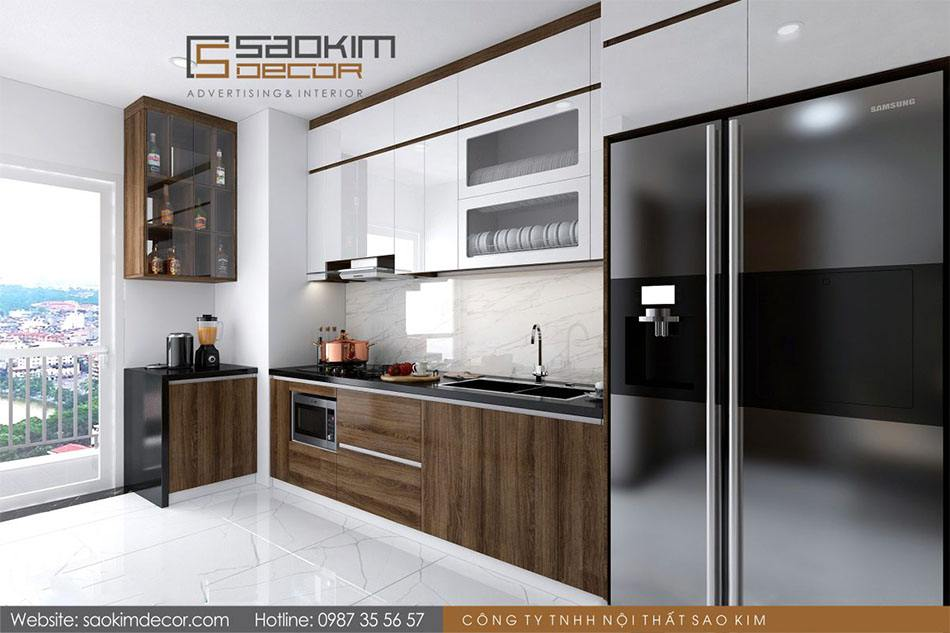 Thiết kế nội thất phòng bếp chung cư Athena Complex Xuân Phương