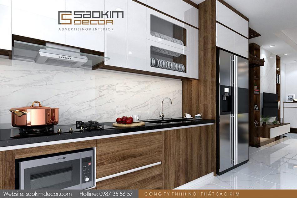 Thiết kế nội thất phòng bếp chung cư 70m2 Athena Complex Xuân Phương