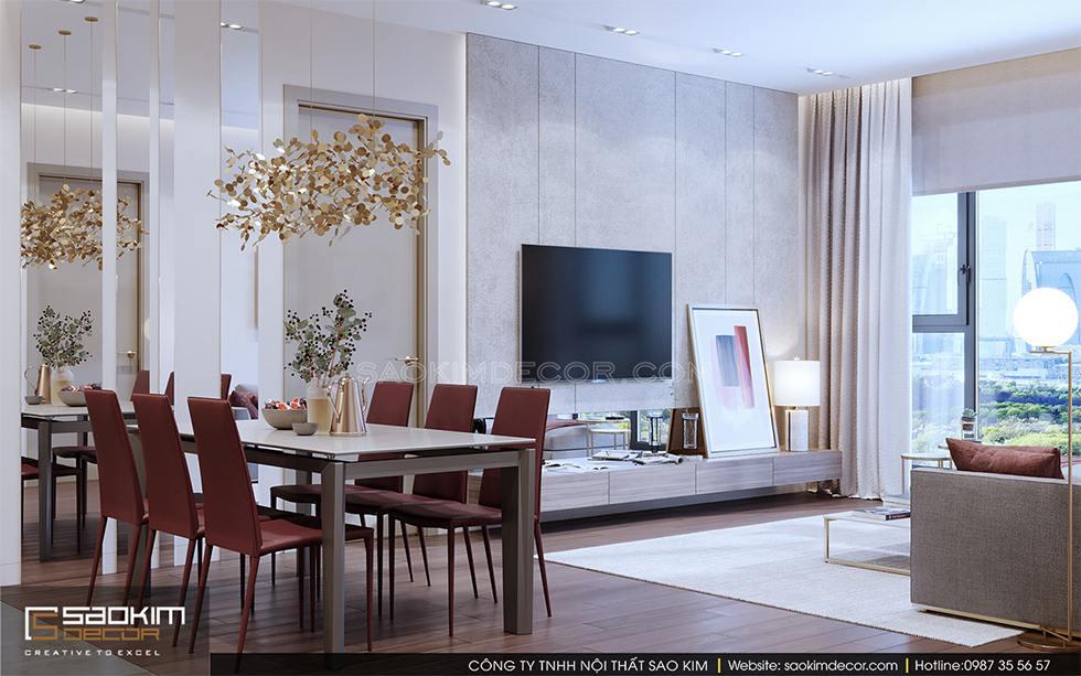 Thiết kế nội thất phòng bếp và bàn ăn chung cư Royal City