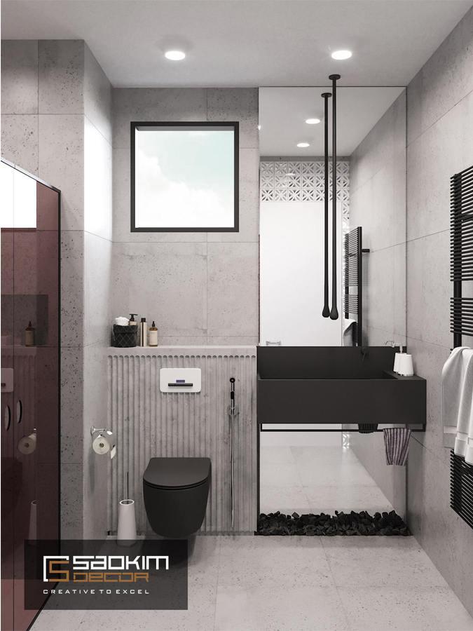 Thiết kế nội thất phòng tắm chung cư nhỏ Vinhome D'Capital