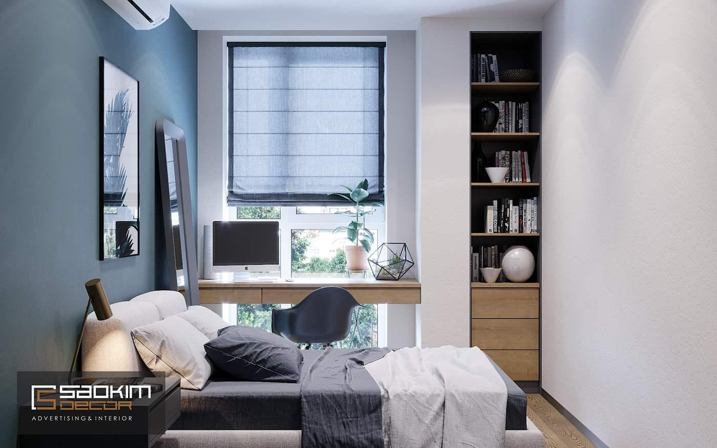 Thiết kế phòng ngủ 2 chung cư