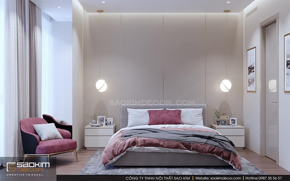 Thiết kế phòng ngủ chung cư Royal City với màu be làm chủ đạo và điểm nhấn từ màu hồng