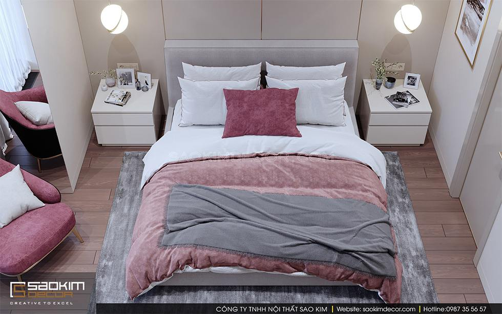 Thiết kế phòng ngủ master chung cư Royal City với màu be làm chủ đạo và điểm nhấn từ màu hồng