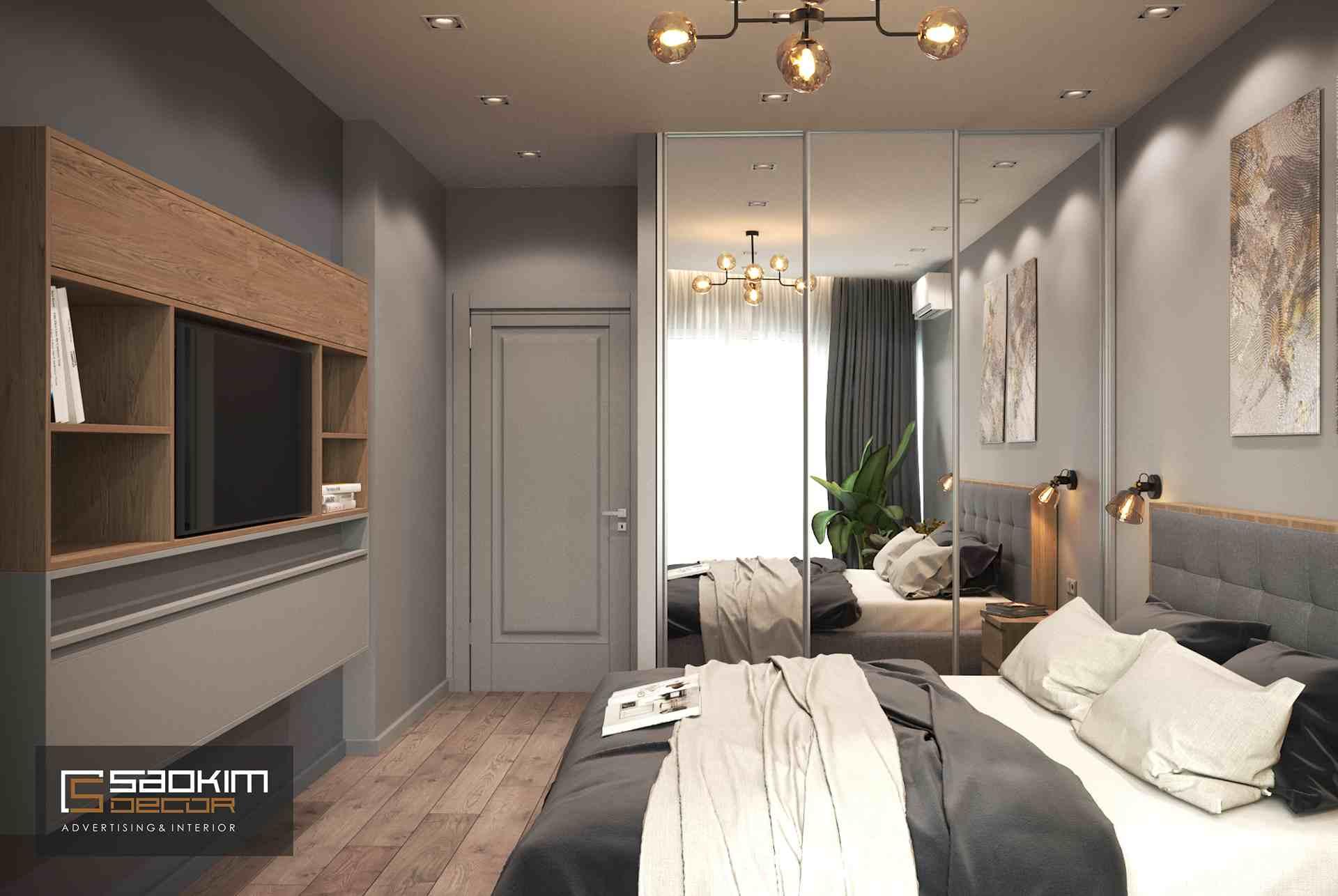Thiết kế nội thất phòng ngủ master chung cư theo phong cách hiện đại TNR Goldmark City