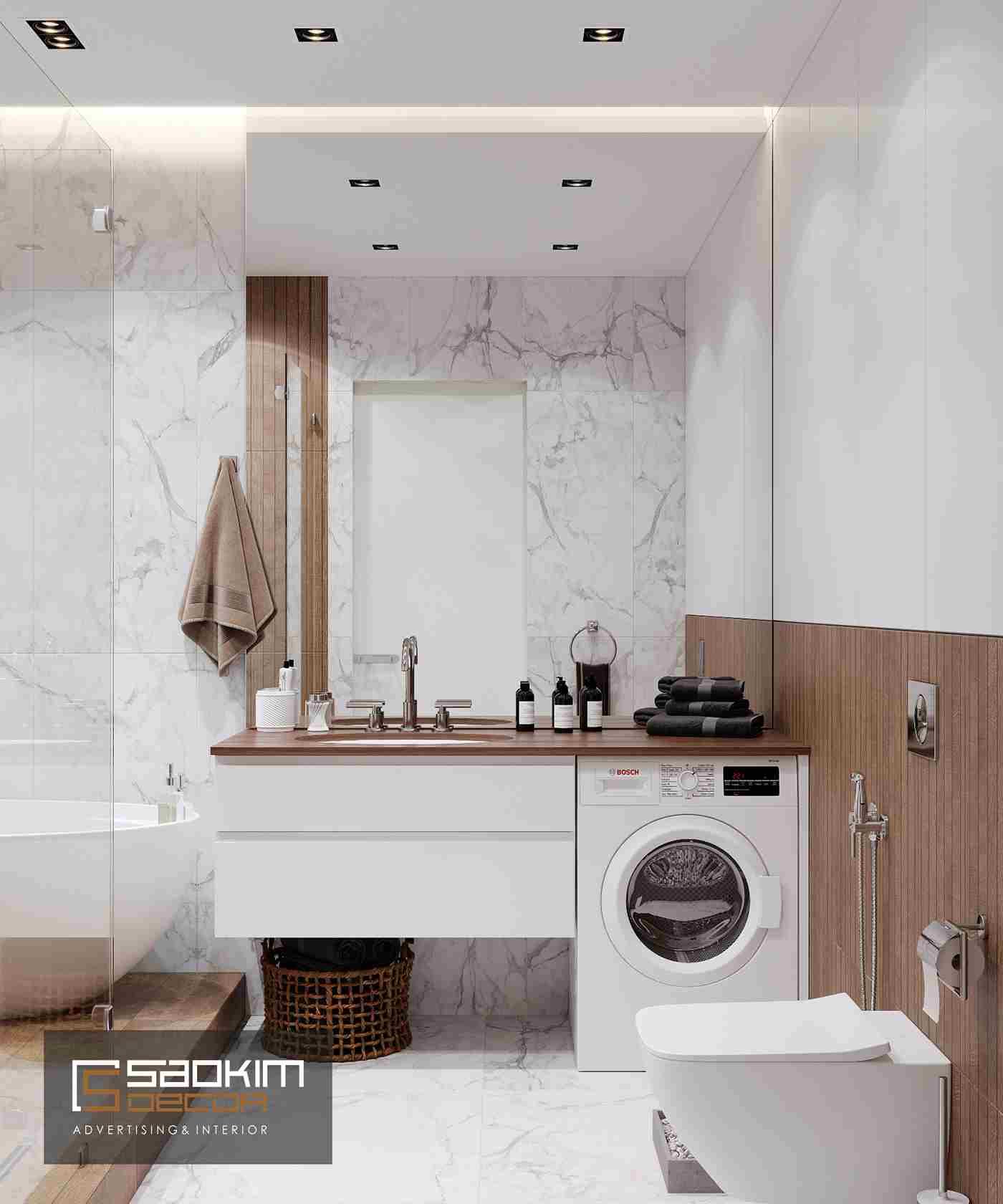 Thiết kế nội thất phòng tắm chung cư TNR Goldmark City