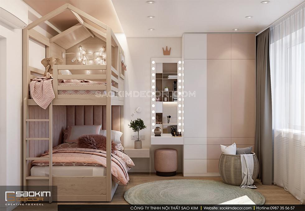 Thiết kế phòng ngủ cho bé gái chung cư cao cấp Royal City