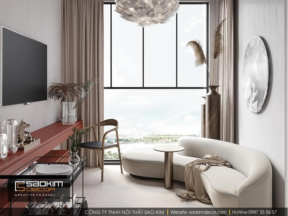Thiết kế nội thất phòng khách chung cư nhỏ Vinhome D'capitale