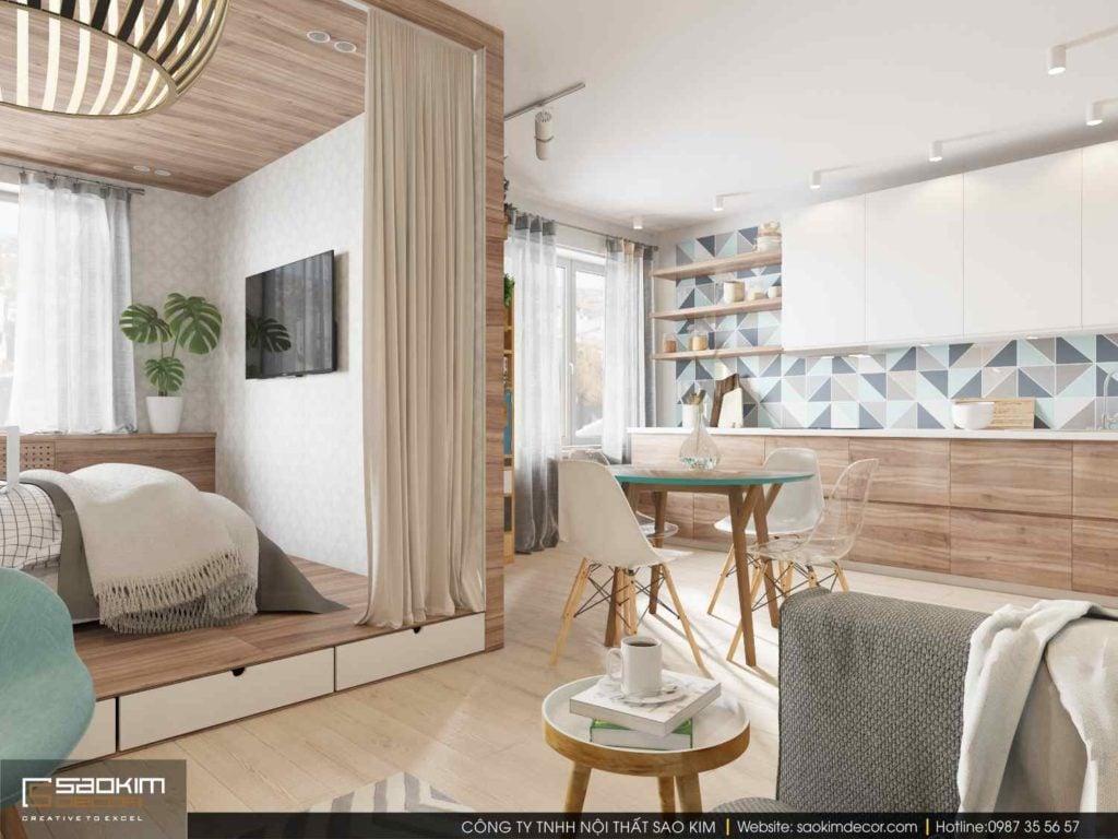 Những gam màu sắc sáng và trung tính được sử dụng trong thiết kế chung cư mini này