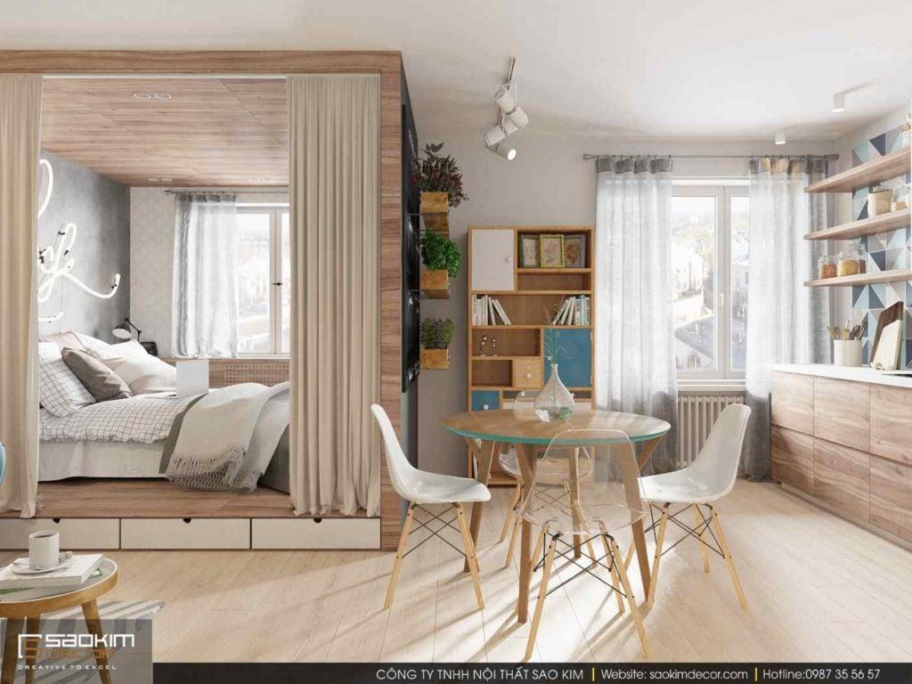 Thiết kế căn hộ chung cư mini 30m2 sử dụng rèm và vách gỗ mỏng ngăn không gian
