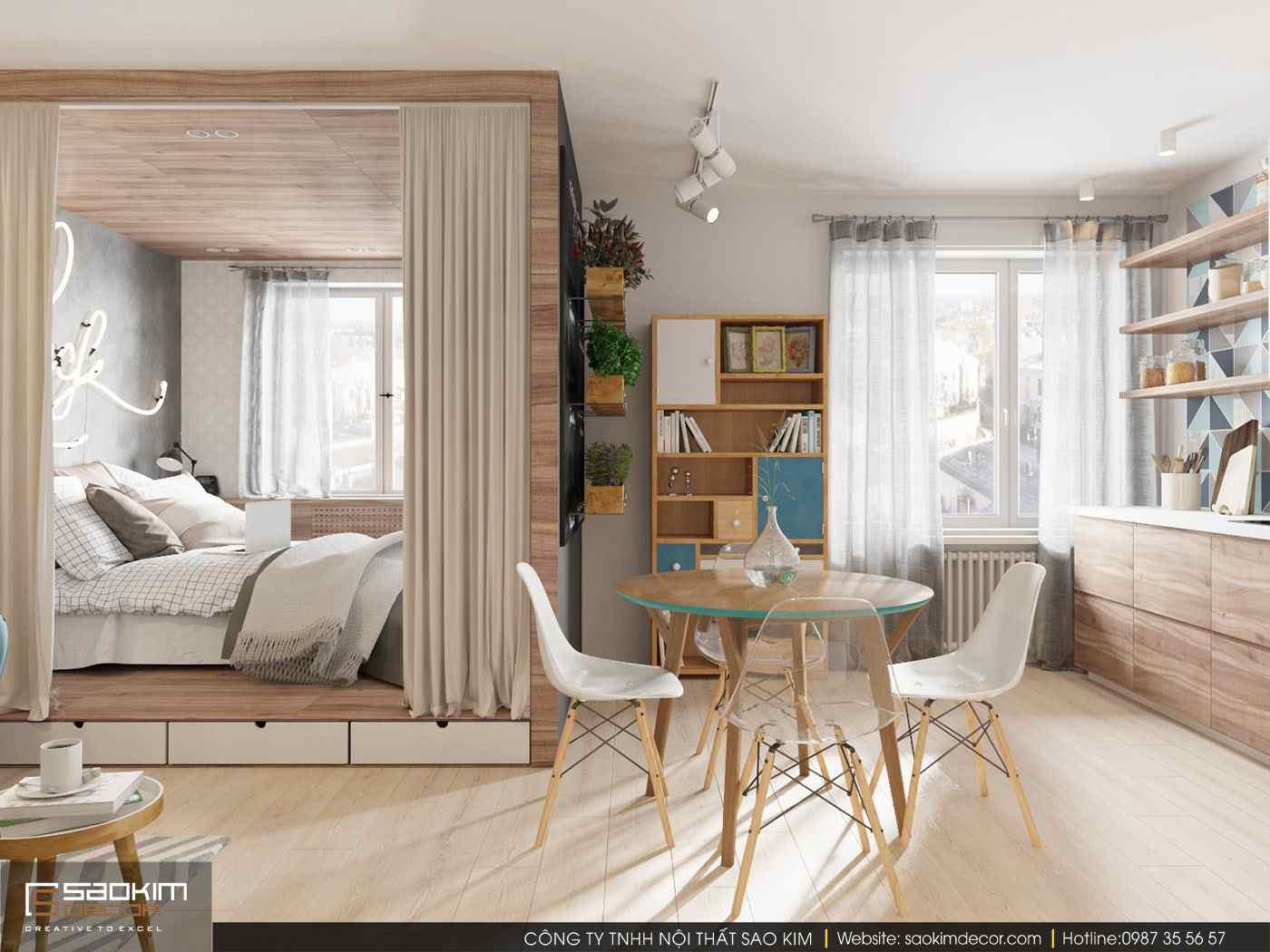 Thiết kế chung cư mini 30m2 theo phong cách scandinavian
