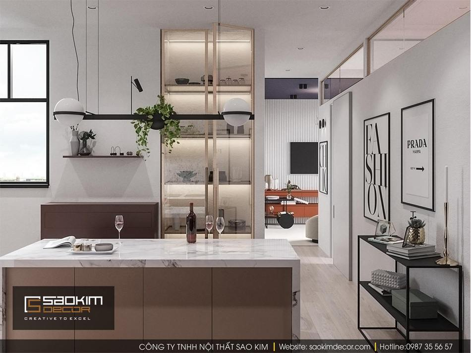 Thiết kế phòng bếp chung cư nhỏ Vinhome D'capitale