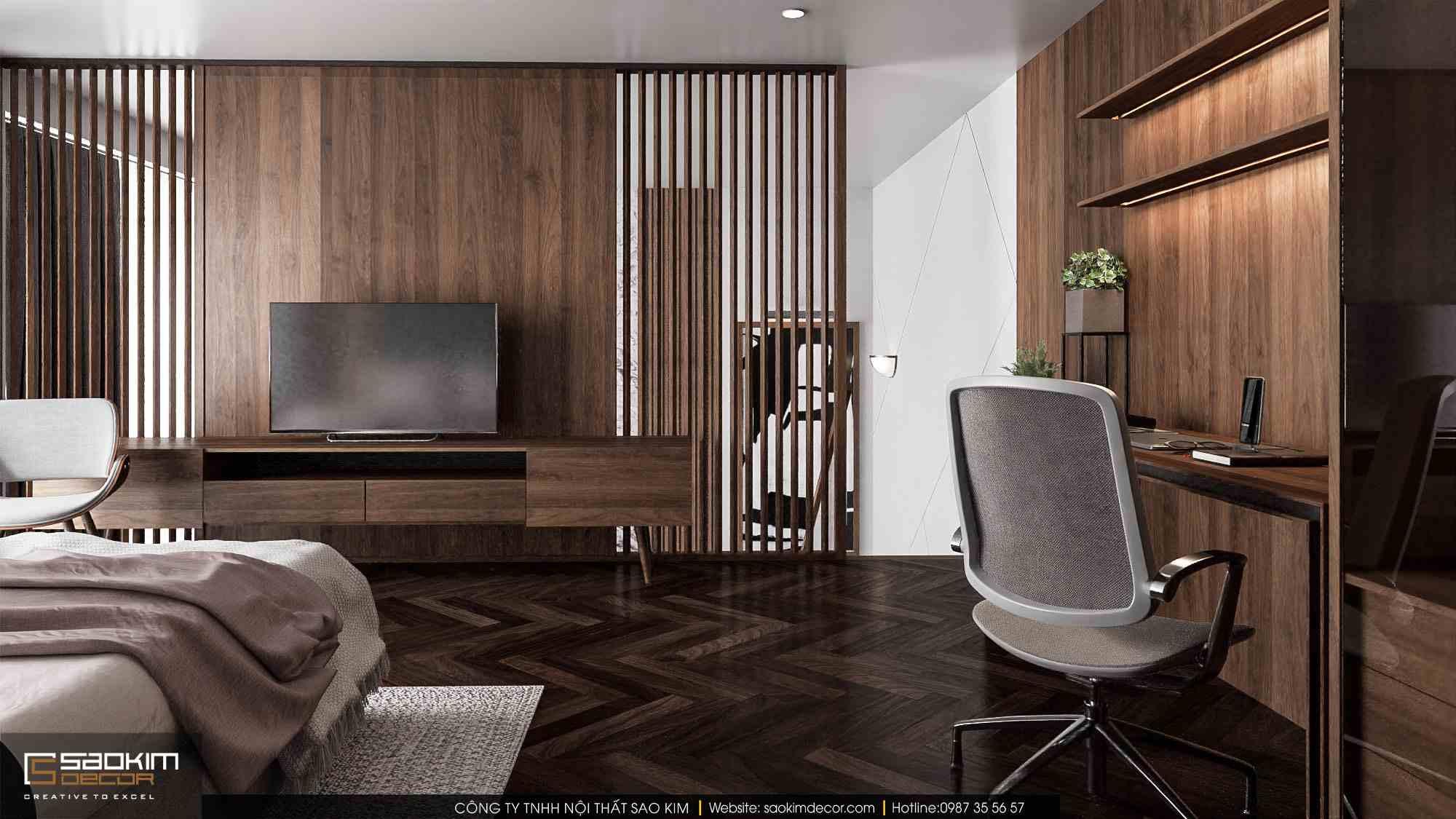 Thiết kế nội thất phòng ngủ chung cư duplex