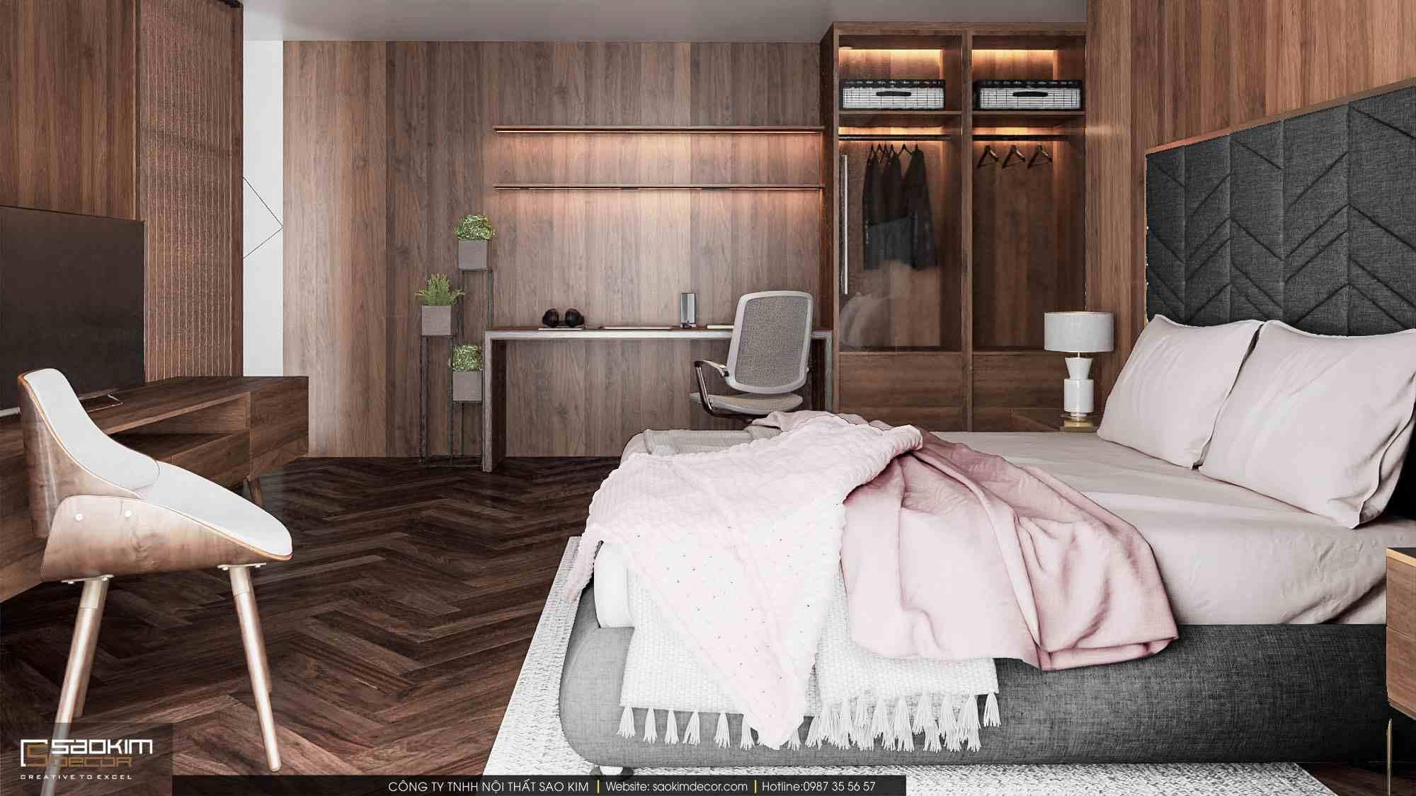 Thiết kế nội thất phòng ngủ chung cư duplex Pentstudio Tây Hồ