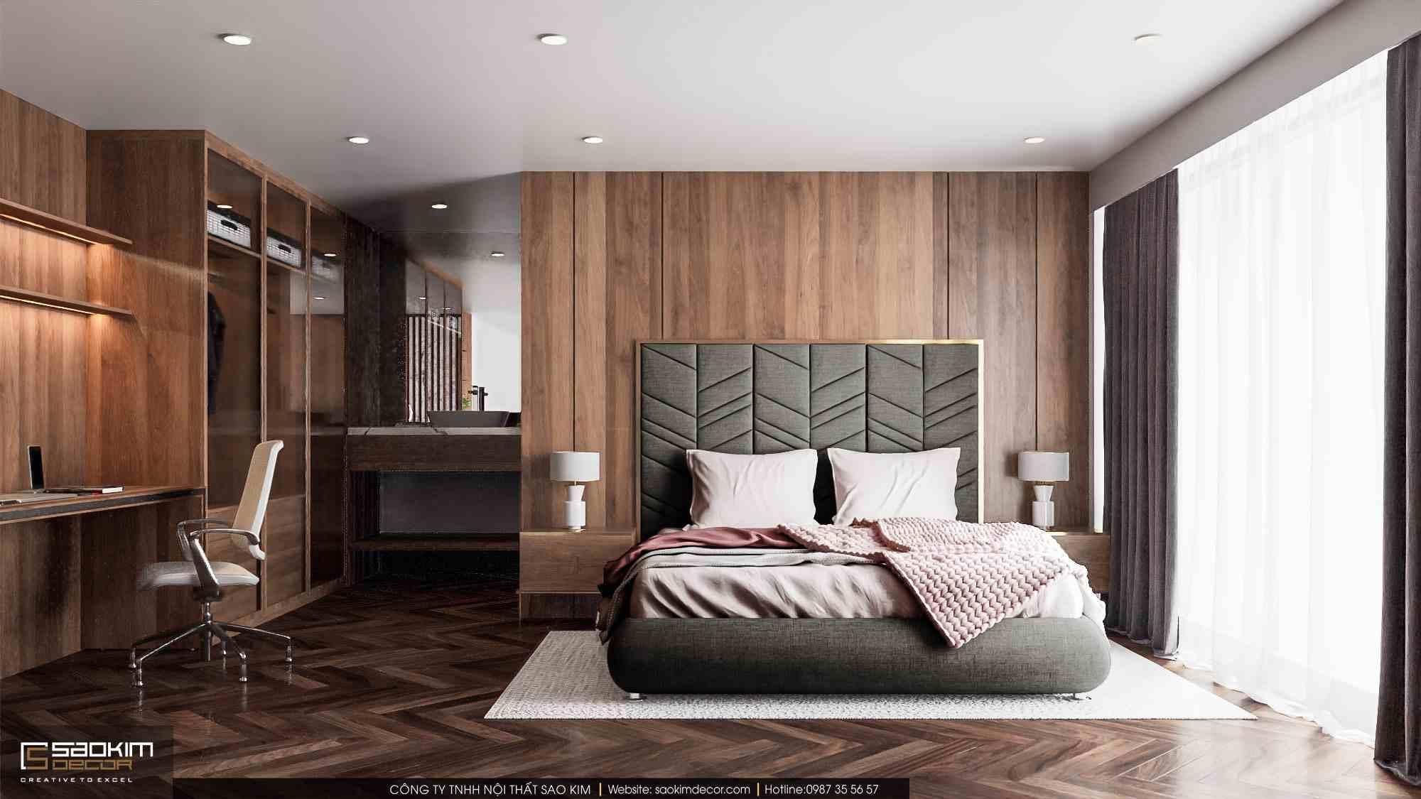 Thiết kế nội thất phòng ngủ căn hộ duplex Pentstudio Tây Hồ