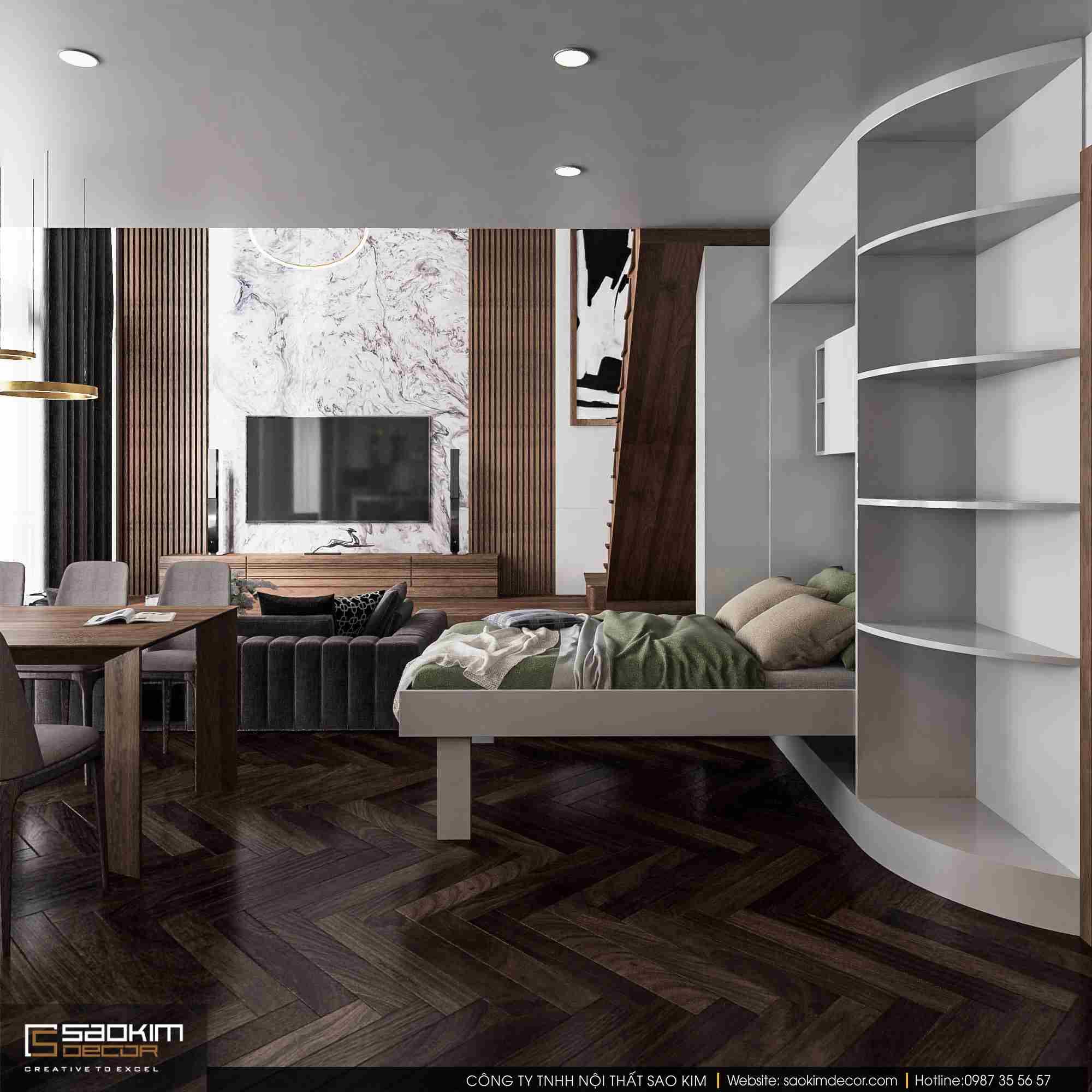 Thiết kế nội thất căn hộ duplex Pentstudio Tây Hồ sử dụng nội thất thông minh