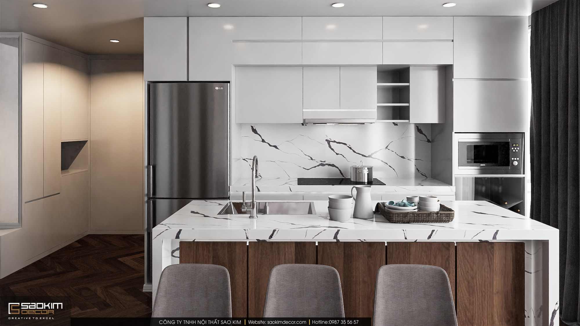 Thiết kế nội thất phòng bếp chung cư duplex sang trọng với đồ nội thất cao cấp