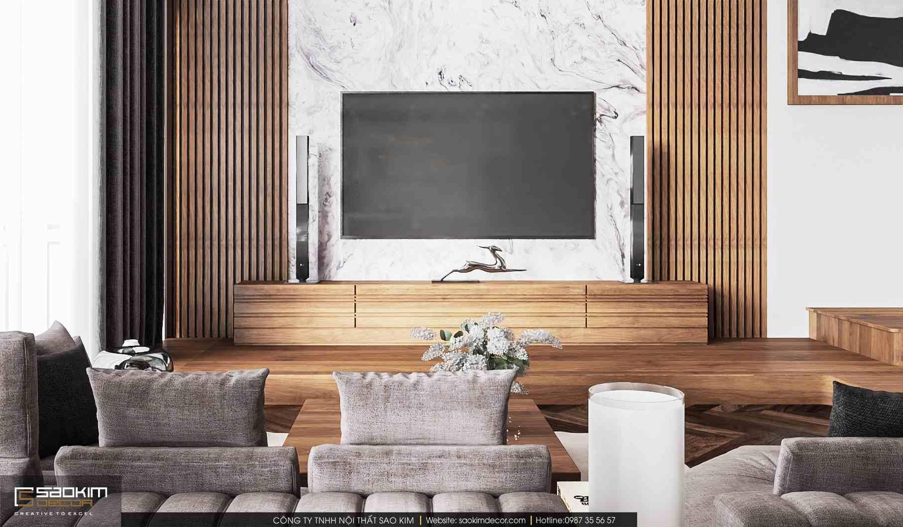Thiết kế nội thất phòng khách căn hộ duplex Pentstudio Tây Hồ