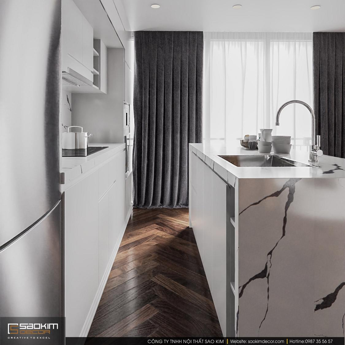 Thiết kế nội thất phòng bếp chung cư duplex