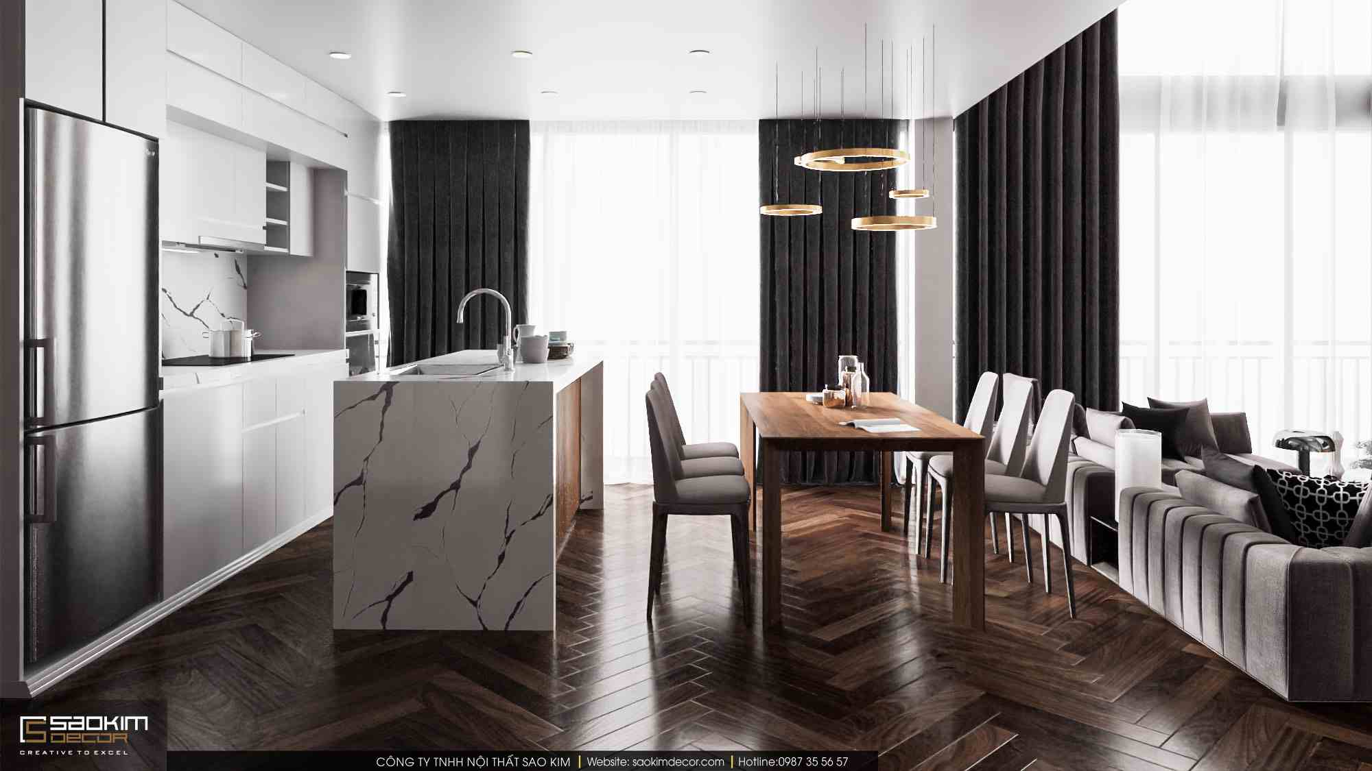 Thiết kế nội thất phòng bếp căn hộ duplex Pentstudio Tây Hồ