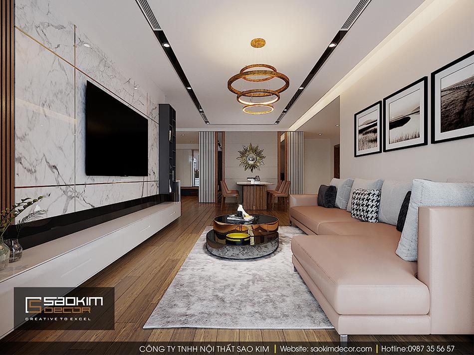 Thiết kế phòng khách căn hộ cao cấp Vimhomes Metropolis Liễu Giai