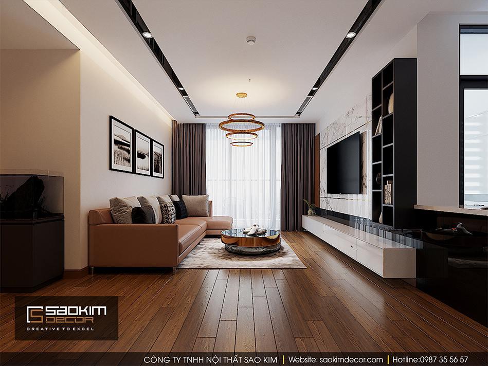 Thiết kế nội thất phòng khách Vimhomes Metropolis Liễu Giai