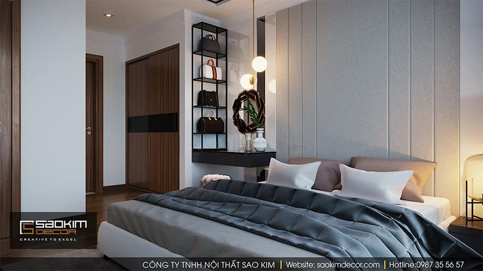 Thiết kế nội thất phòng ngủ master chung cư Vimhomes Metropolis Liễu Giai