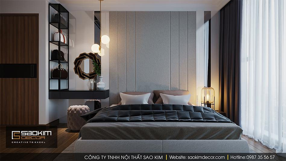 Thiết kế nội thất phòng ngủ master căn hộ cao cấp Vimhomes Metropolis Liễu Giai