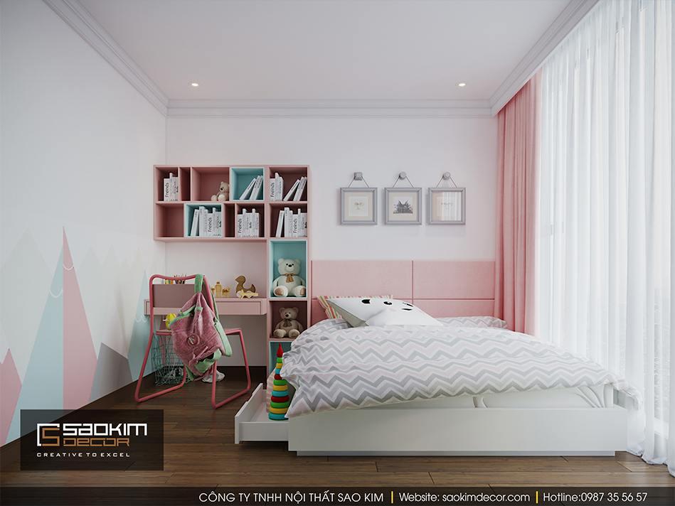 Thiết kế phòng ngủ bé gái chung cư Vimhomes Metropolis Liễu Giai