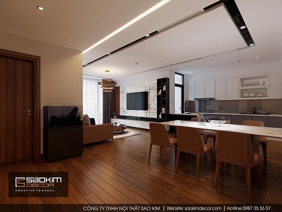 Thiết kế nội thất phòng bếp căn hộ cao cấp Vimhomes Metropolis Liễu Giai