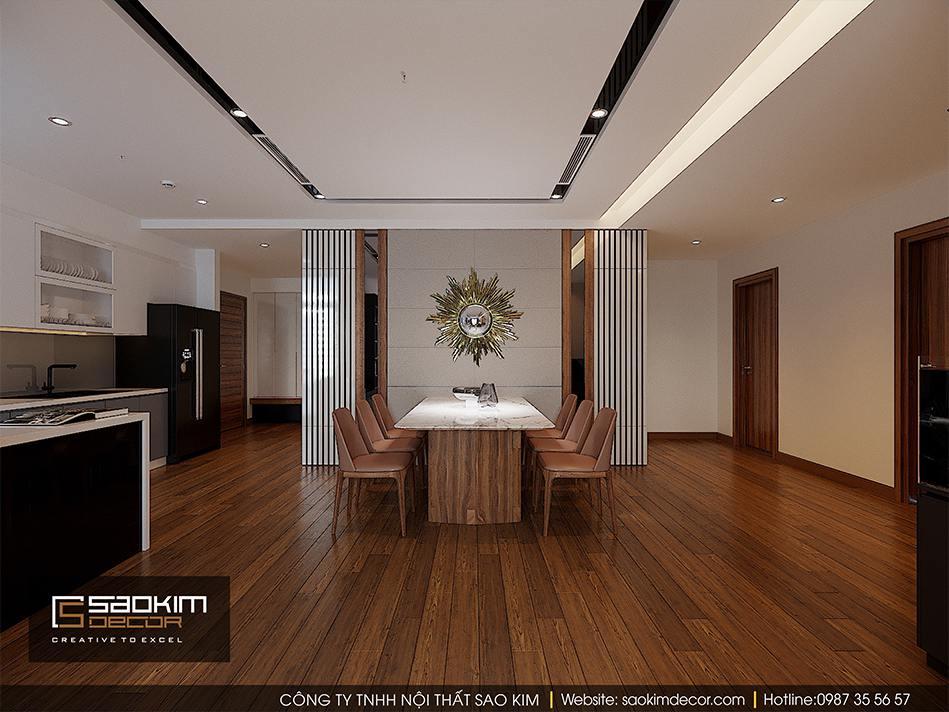 Thiết kế nội thất phòng ăn căn hộ cao cấp Vimhomes Metropolis Liễu Giai