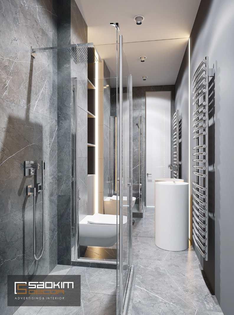 Thiết kế phòng tắm chung cư Vinhome Green Bay