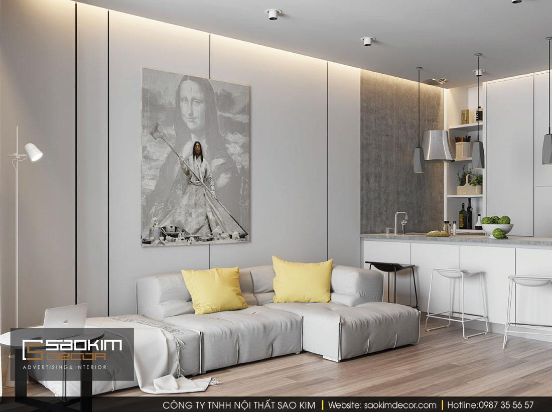 Thiết kế chung cư 1 phòng ngủ G1 Vinhomes Green Bay