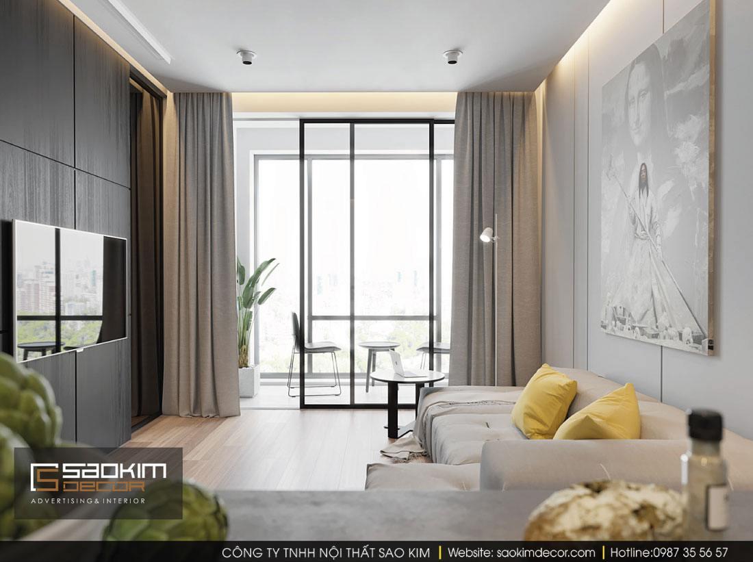 Thiết kế nội thất phòng khách chung cư G1 Vinhomes Green Bay