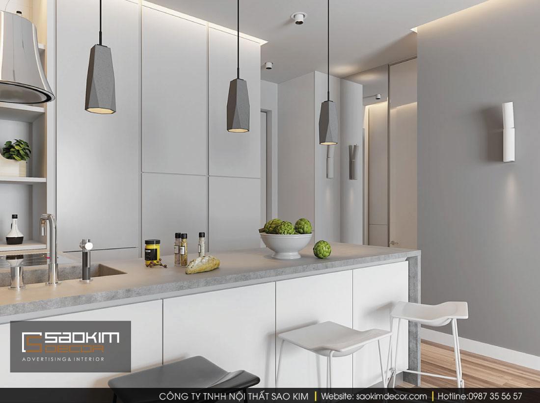 Thiết kế nội thất phòng bếp chung cư G1 Vinhomes Green Bay