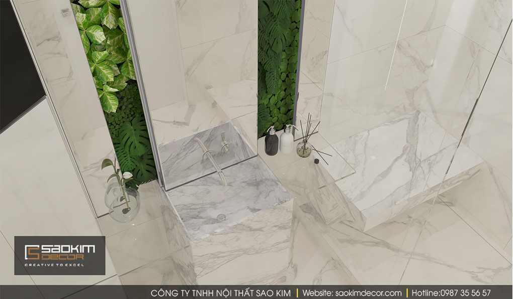 Thiết kế nội thất căn hộ nhỏ Time City với phòng tắm xanh mát, sang trọng