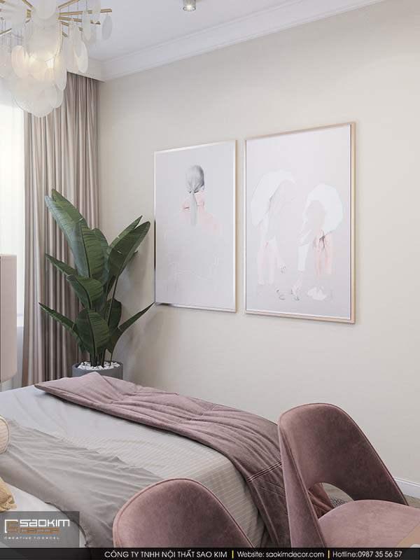 Thiết kế nội thất phòng ngủ với những bức tranh decor xinh xắn