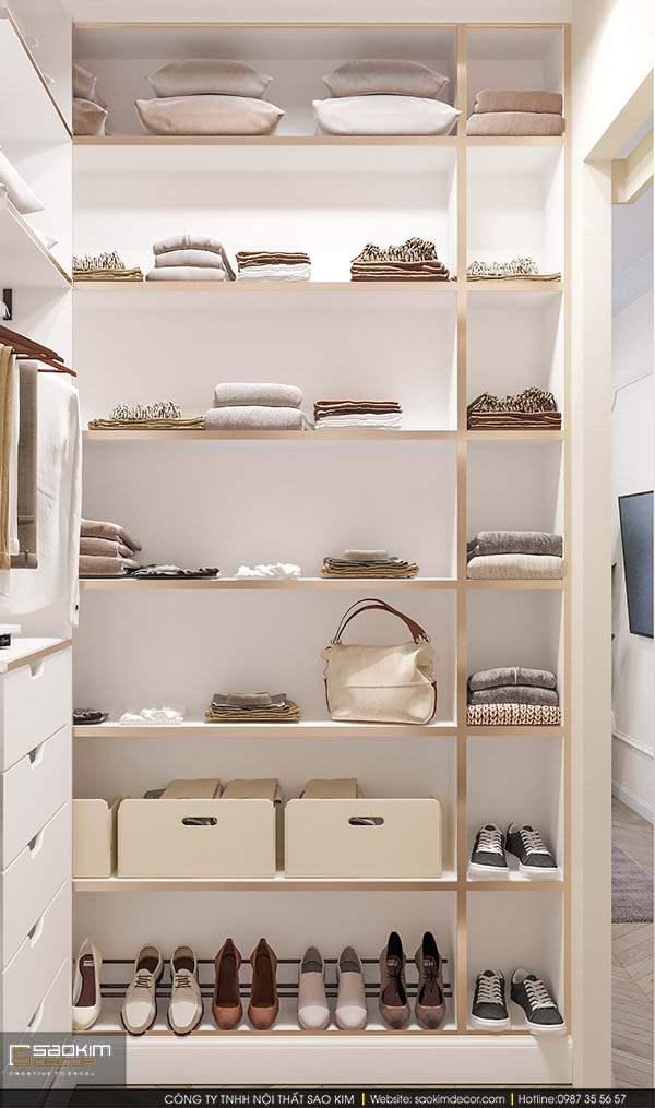 Thiết kế nội thất phòng ngủ với phòng thay đổ nhỏ với các ngăn tủ chứa giày dép và quần áo