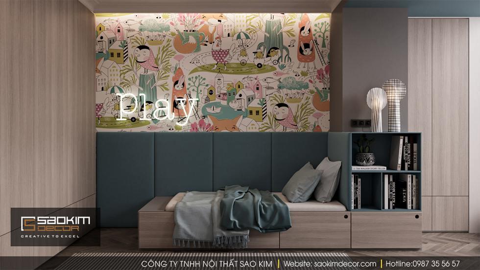 Thiết kế phòng ngủ trẻ em - phòng ngủ bé trai chung cư Dream Center Home