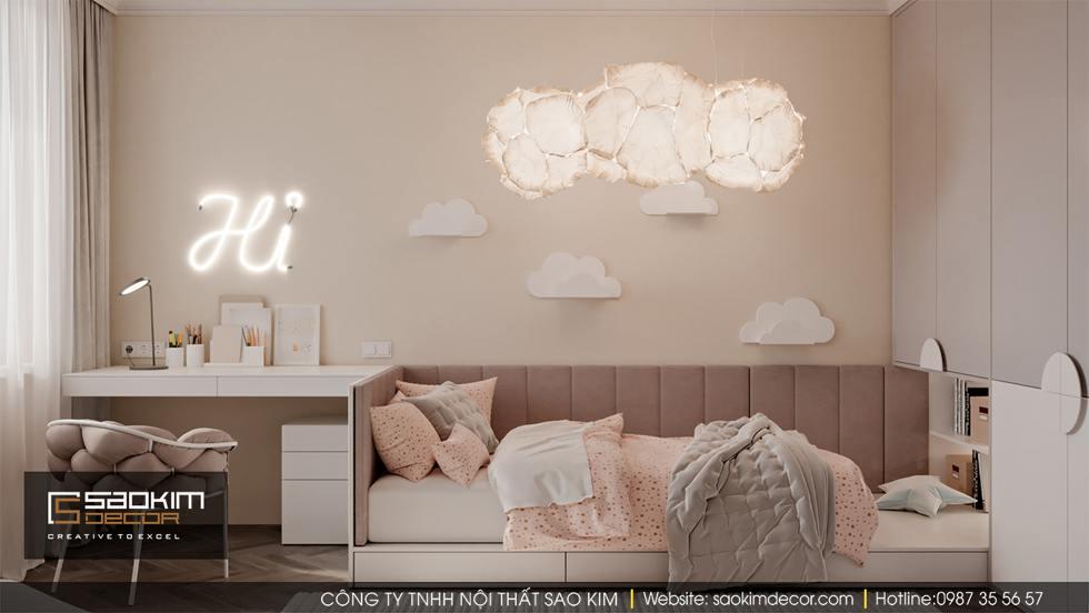 Thiết kế phòng ngủ trẻ em - phòng ngủ bé gái chung cư Dream Center Home