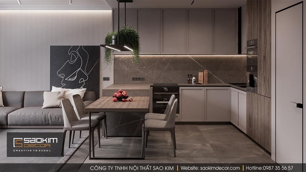 Thiết kế phòng khách và bếp chung cư 100m2 Dream Center Home