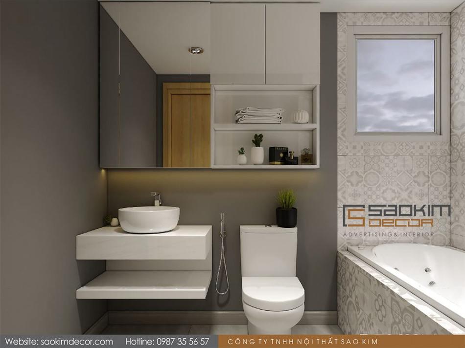 Thiết kế phòng tắm chung cư 80m2 Mon Central – Láng Hạ