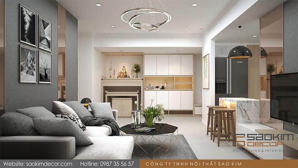 Thiết kế phòng khách chung cư 80m2 Mon Central – Láng Hạ