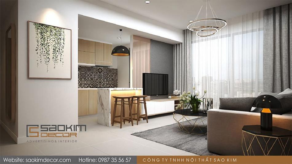 Thiết kế phòng khách và bếp chung cư 80m2 Mon Central – Láng Hạ