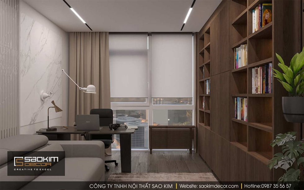 Thiết kế phòng làm việc tại nhà chung cư Gold Tower Nguyễn Trãi