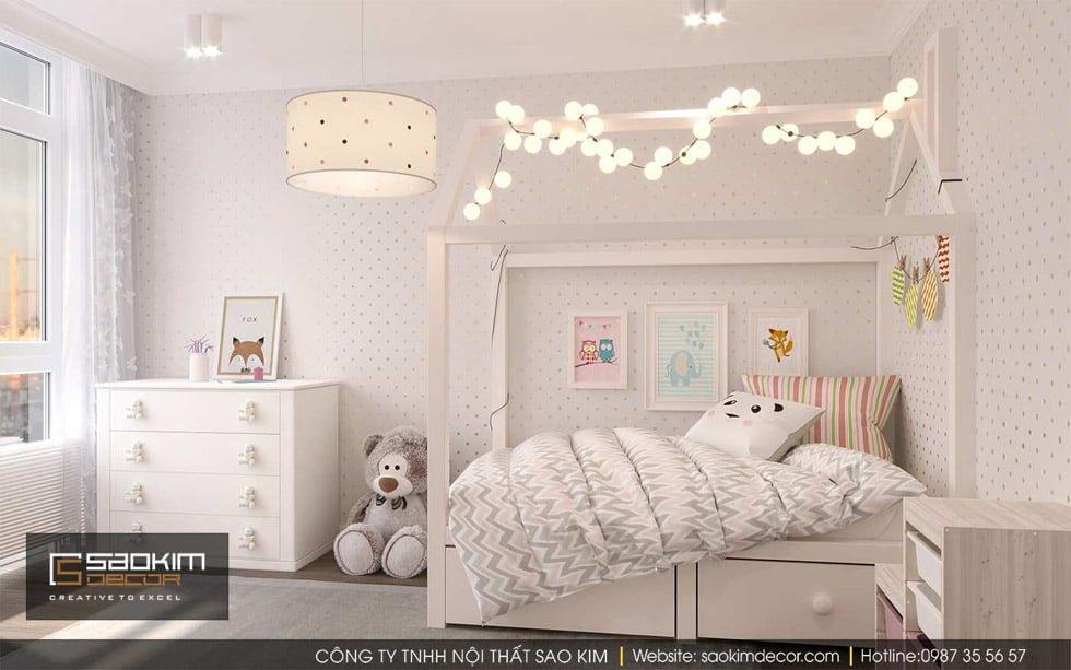 Thiết kế phòng ngủ của bé chung cư 90m2 Gold Tower Nguyễn Trãi