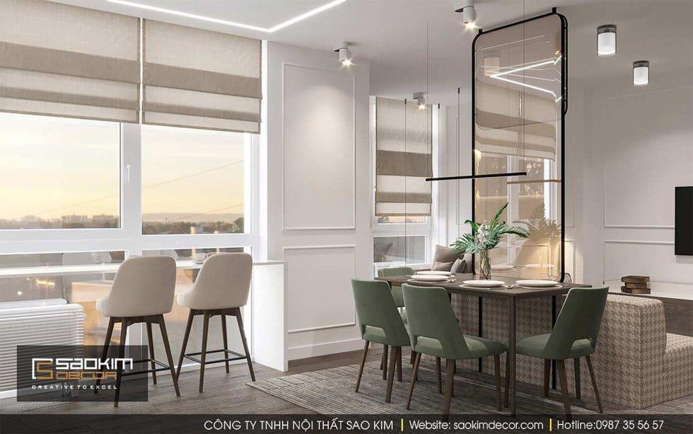 Thiết kế khu vực bàn ăn chung cư Gold Tower
